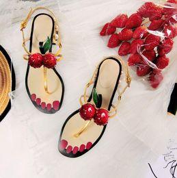 Cotton Cherry Australia - Summer Ladies Sandals Fashion Black Pink Gold Shoes Women Narrow Cherry Pearl Chunky Low Heels Flip-flop Thong Sandals Woman