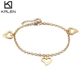 stainless steel anklets Canada - wholesale Trendy Stainless Steel Anklets Cute Romantic Gold & Silver Heart Fashion Barefoot Sandal Anklets For Women 23cm Adjustable