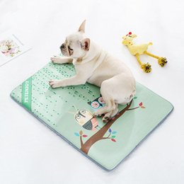 Small Coolers Wholesale NZ - Pet Summer Cooling Mat Viscose Cushion Sleeping Mat Non-slip Printed Skin-friendly Nest Pad Bed for Small Medium Large Dog Cat
