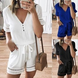 $enCountryForm.capitalKeyWord Australia - Plus Size Women Rompers Solid White Jumpsuit Summer Short Sleeve Overalls V Neck Jumpsuits Casual Drawstring Playsuit XL 4XL 5XL