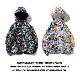 $enCountryForm.capitalKeyWord Australia - Kiss2019 Brand Tide Shark Head Colour Covered Candy Camouflage Defence Windbreaker Men And Women Zipper Hoodie