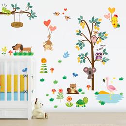 $enCountryForm.capitalKeyWord Australia - Forest Zoo Animals Owl Monkey Dog Tree Wall Sticker Decal Bedroom Decorative Kids Baby Nursery Room Home Decor Mural Poster