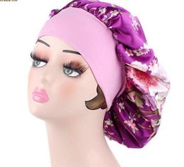 Chinese  Wide Band Silk Satin Bonnet Night Sleep Cap Hat by One Planet Best Quality Floral print Head Cover Bonnet for Beautiful Hair accessories manufacturers