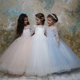 ae417bc02d6 Pink feather vest online shopping - 2019 Lovely Ball Gown Flower Girls  Dresses Jewel Neck D