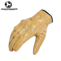 Leather Gloves For Men Australia - 2019 Retro Genuine Leather Motorcycle Gloves for style Guantes Full Finger Moto touch screen luva motociclista Motocross Glove