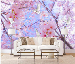 Cherry blossom landsCape painting online shopping - 3D Wallpaper Beautiful romantic cherry blossom dove sky landscape background wall painting Wallpaper d Mural For Living Room