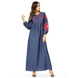 915547537d Ankle length denim dresses online shopping - Denim dress Women Ankle Length  Vintage ethnic Embroidery maxi