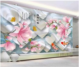 $enCountryForm.capitalKeyWord Australia - WDBH 3d wallpaper custom photo mural Chinese flower fish love tv background living room home decor 3d wall murals wallpaper for walls 3 d