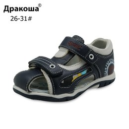 closed toe sandals NZ - Apakowa Brand New 2018 Boys Sandals Genuine Leather Children's Shoes For Boys Flat Closed Toe Orthopedic Kids Sandals Eur 26-31 Y19062001