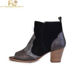 women black booties NZ - Black Snake Embossed Ankle Boots Med Chunky Heels Woman Peep Toe Booties Slip On Large Size 14 16 Ladies Fashion Sexy Shoes FSJ