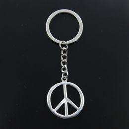 Peace Symbol Pendants Wholesale Australia - Fashion Keychain 34x30mm peace symbol Pendants DIY Men Jewelry Car Key Chain Ring Holder Souvenir For Gift