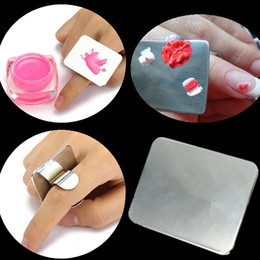 Discount finger nail painting tools - Finger Ring Color Palette Dish UV Gel Polish Painting Color Pigment Mixing Plate Showing Board Display Nail Art Tool