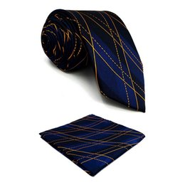 $enCountryForm.capitalKeyWord UK - F9 Blue Geometric Mens Neckties Hanky Set Dress Classic Ties for Men Xlong Party Gift