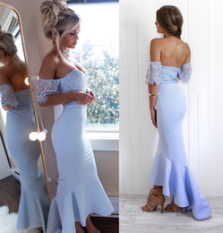 Violet prom dresses online shopping - Violet Lace Spandex Ankle Length Mermaid Evening Dress Off Shoulder Short Sleeve Fashion Prom Party Gown Custom Size