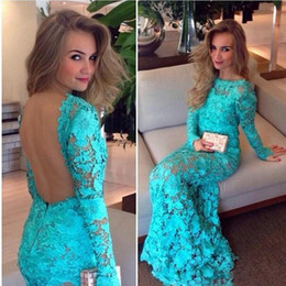 full open back prom dress Australia - 2019 Full Lace Mermaid Evening Dresses Long Sleeves Open Back Sexy Prom Dresses for Women