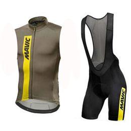SleeveleSS cycle jerSeyS online shopping - 2019 NEW Mavic team Cycling Sleeveless jersey Vest bib shorts sets Breathable hight quality Slim fit Top brand