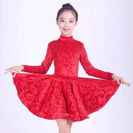 Red Leather Dresses UK - kids latin dress Rumba cha cha salsa tango dress vestido latino competition Latin skirt dance red blue MW M0053