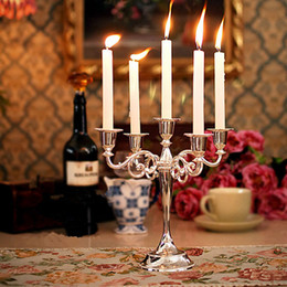 Chandelier Candles Australia - New Arrival Silver Gold Bronze Color 3 & 5 Arms Candelabra Taper Candle Holders Chandeliers Wedding Centerpieces