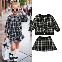 vintage baby girl clothes wholesale NZ - 2-7T Toddler Kids Baby Girl Plaid Clothes set Autumn Winter Vintage Coat top Skirt Dress set Elegant Warm Cute Sweet Outfit