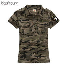 $enCountryForm.capitalKeyWord NZ - Babyoung Summer Casual Polo Feminina Women Tops Camouflage Army Cotton Shirts Polo Femme Polos Mujer Short Sleeve Shirt M~5xl Q190426