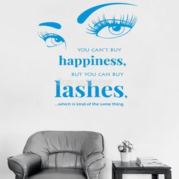 Cartoon Buy Australia - You Can't Buy Happiness Wall Sticker Quote Art Lashes Decal Livingroom Vinyl Mural Wall Decals Bedroom Romantic Home Decor