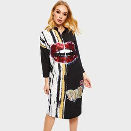 Women Plus Size Shirt Dress Loose Fashion Brand Sequins Printed Hot Sale  Boho Black Streetwear Female Spring Casual Midi Dresses e190a3754459