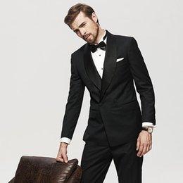 Toptan satış Yeni Popüler Groomsmen Şal Yaka Kruvaze (Ceket + Pantolon + Kravat) Damat Smokin Groomsmen İyi Erkek Takım Elbise Erkek Düğün Damat 34