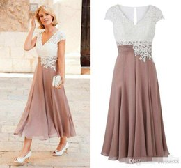 $enCountryForm.capitalKeyWord NZ - Newest Mother of the Bride Dress Deep V Neck Chiffon Ankle Length Wedding Guest Dress Short Sleeves Top Lace Groom Party Gowns