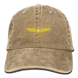 2019 New Wholesale Baseball Caps Mens Cotton Washed Twill Baseball Cap US  Navy Pilot Wings Hat e01f421c9fae