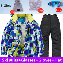 beb81001ac 5 Pcs Ski Suit Children s High Quality Ski Wear Windproof Waterproof Girls  Boys Snow Pants Warm Child Winter Snowboard Suit