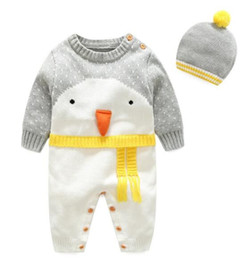 penguin suits Australia - 2019 New Children's Sweater Autumn and Winter Baby's Wool Cotton Climbing Clothes Three-dimensional Cartoon Penguin Hat suit Best-selling