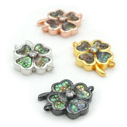 Connectors 4mm Australia - 16*13*4mm Micro Pave Clear CZ Gridding Abalone Shell Clover Connectors Fit For Making Bracelets Jewelry