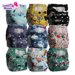 nappies covered Australia - 9pcs set STANDARD Hook-Loop Reusable Washable Nappy Diaper Cover Wrap Baby,9 nappies diapers and 0 microfiber inserts in one setMX190910