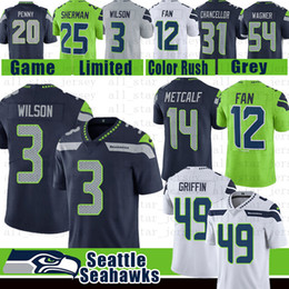 Discount fans 12 - Seattle 3 Russell Wilson Seahawks Jersey 14 DK Metcalf 12 Men Fan 49 Shaquem Griffin 31 Kam Chancellor 29 Earl Thomas Wa