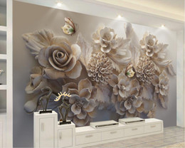 kitchen flower wall sticker Australia - custom 3d wallpaper walls Embossed flower wallpaper for walls Bedroom Living room Sofa background wall paper sticker