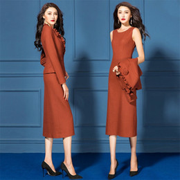 working clothes for female 2020 - Formal Office Dress Suits For Women Slim Fit Business Ladies Work Wear Coat Dress 2 Piece Sets Elegant Clothes Female Pl