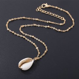 rhinestone chain trimming wholesale Australia - Fashion Natural Shell-Wrapped Gold Necklace for Women Natural Cowrie Shell Pendant With Double Bails Gold Trim Chain Necklace