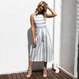 f610deab6be4 Hxroolrp 2019 Rompers Womens Jumpsuit Women Sleeveless Striped Jumpsuit  Casual Clubwear Wide Leg Pants Outfit For A1