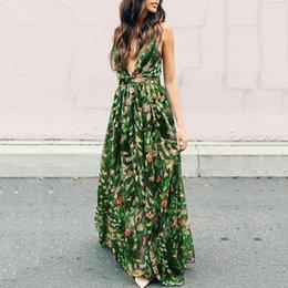 $enCountryForm.capitalKeyWord Australia - Casual Women Dress Autumn Sexy V-neck High-waist Spaghetti Strap Pullover Floral Backless Print Girls Fashion Dress designer clothes
