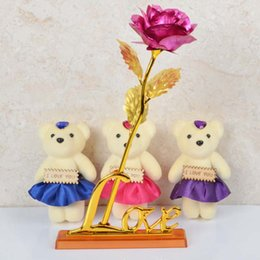 $enCountryForm.capitalKeyWord Australia - Gold Plated Rose with Love Base Bear Doll Kit Valentine Mother's Day Gift TB Sale