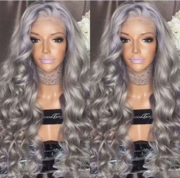 $enCountryForm.capitalKeyWord Australia - Fashion Ombre Silver Grey Body Wave Lace Front Wig Glueless Long Gray Virgin Human Hair Wigs For fasihion Women
