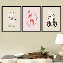 Art Canvas Prints Australia - Watercolor Modern Style Kid Picture Print Decoration Poster Cartoon Rabbit Animal Nordic Girl'S Room Painting HD Wall Art Canvas