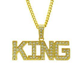 Punk Hip Hop 14 Karat Gold Cuban Gliederkette Kristall König Brief Anhänger Halskette Männer Schmuck CX644 im Angebot