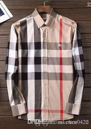 2019 Marka erkek Iş Rahat Gömlek Erkek Uzun Kollu Çizgili Slim Fit Camisa Masculina Sosyal Erkek Gömlek Yeni Moda Shirt005 indirimde