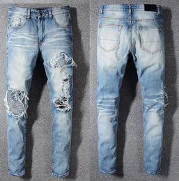 $enCountryForm.capitalKeyWord Australia - hot 2019 Blue men Holes Jeans Brand Men Biker Stylish Popular Holes Jeans Fashion Motorcycle Jeans Denim Pants Hip Hop Pants Trousers