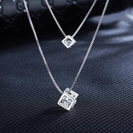 lady s pendant 2019 - 's Cube Crystal From Double Pendant Necklace Silver Cubic Zirconia Ladies Exquisite 's Cube Necklace Jewelry F