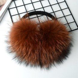 8f1c5b32fc6 women real raccoon fur earmuff pink white brown Caramel color for girl cute  furry fluffy genuine fur winter earflaps ear warmer