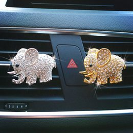 wholesale elephant fabric Canada - 3 pcsBling Accessories Aroma Vent Clip Smell Perfume Air Freshener Car Ornaments Diamond Elephant Auto Interior Decor C19041201