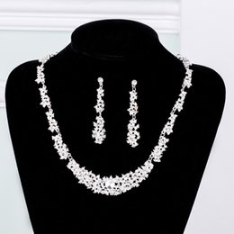 $enCountryForm.capitalKeyWord Australia - Crystal Bridal Jewelry Set silver plated necklace diamond earrings Wedding jewelry sets for bride Bridesmaids women Bridal Accessories
