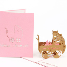 Origami Invitation Cards Australia - 3D Baby Carriages Greeting Card Pop Up Origami Paper Laser Cut Postcard Birthday Party Kirigami Invitation Card Gift
